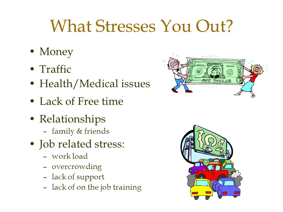 What Stresses You Out Money Traffic Health/Medical issues