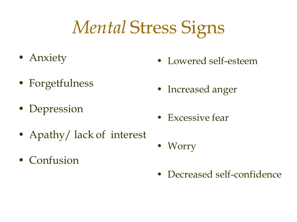 Mental Stress Signs Anxiety Forgetfulness Depression