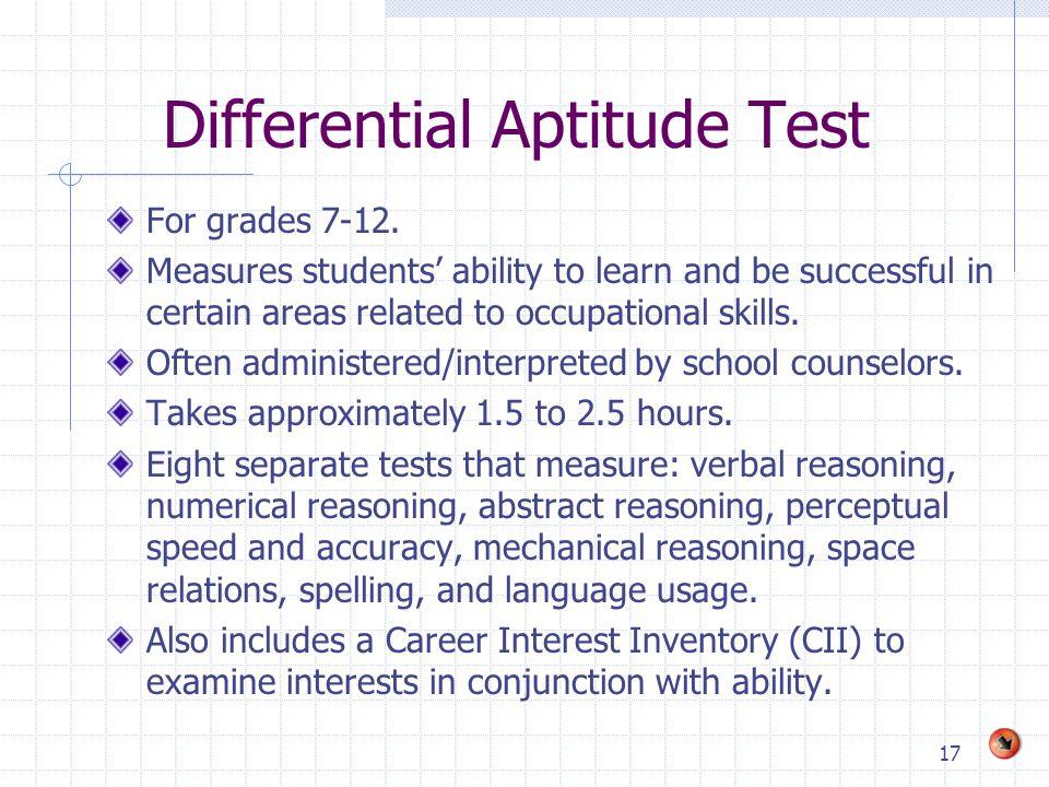 Differential Aptitude Test  Career Aptitude Test