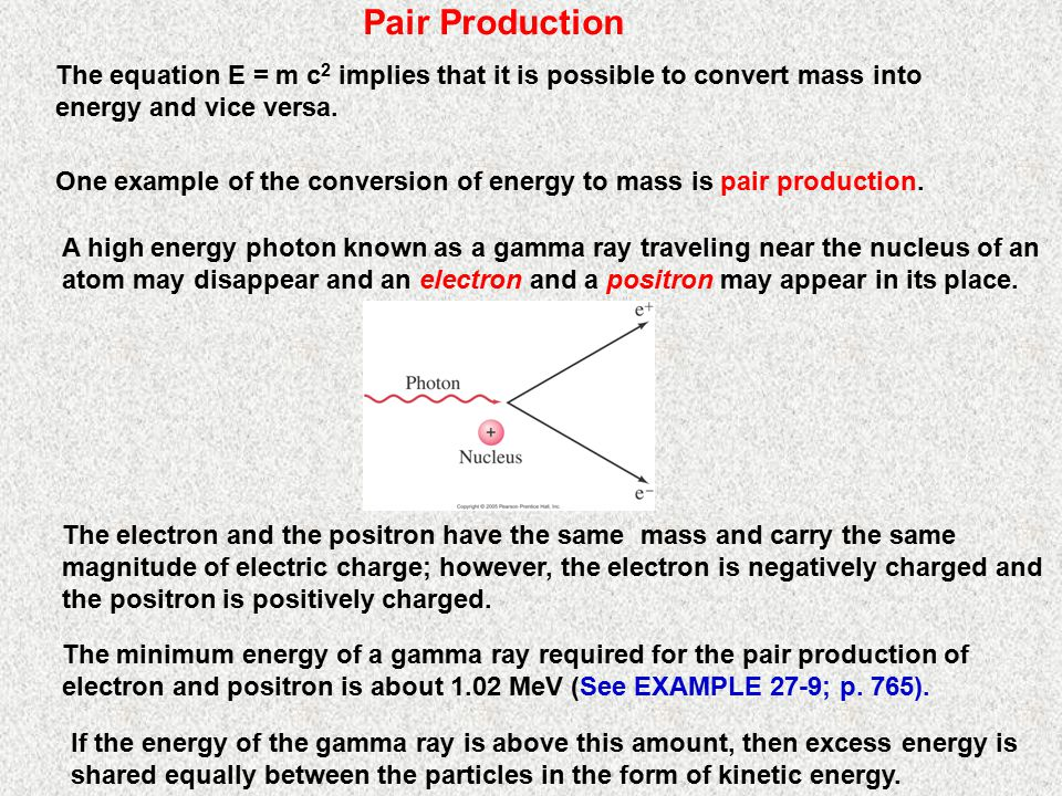 Pair Production The equation E = m c2 implies that it is possible to convert mass into energy and vice versa.