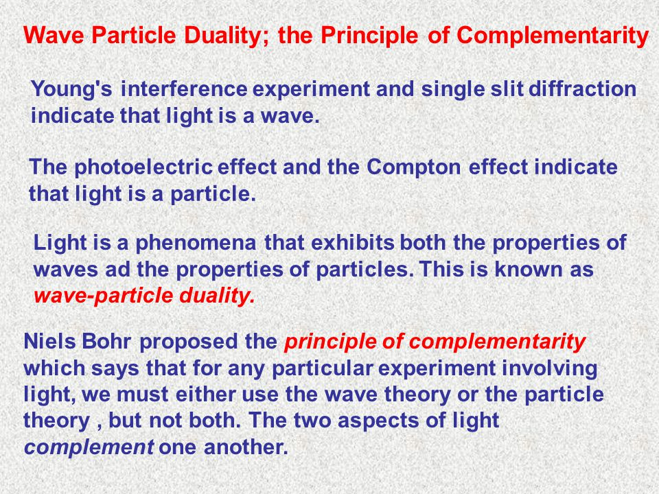 Wave Particle Duality; the Principle of Complementarity