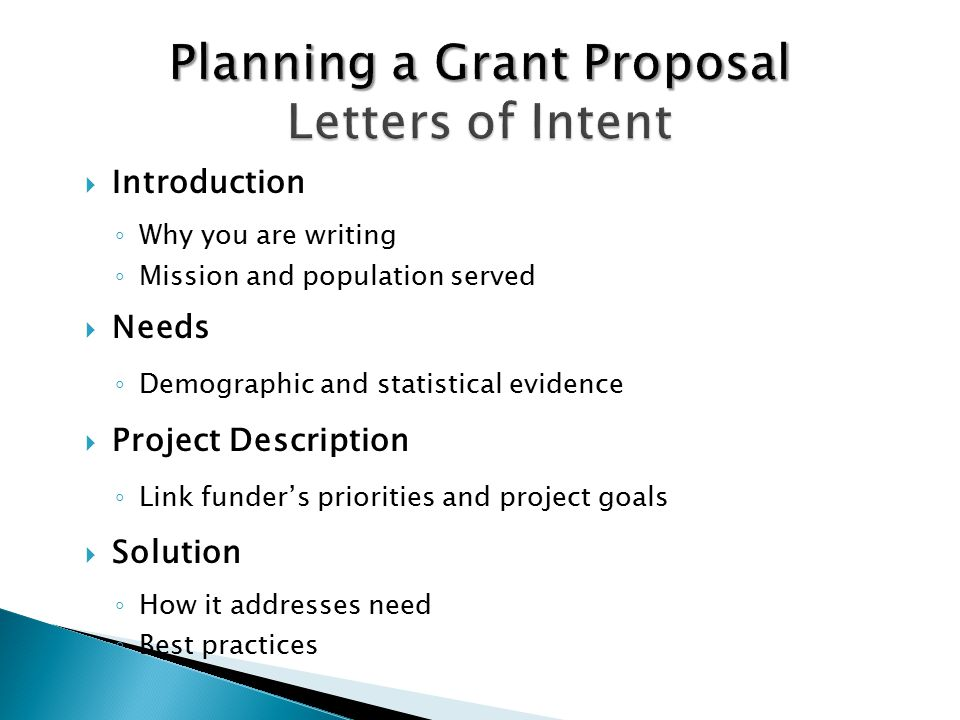 steps to writing a grant proposal Writing a proposal for a sponsored activity such as a in mind that a grant proposal is as much a marketing document as an intellectual document preliminary steps.
