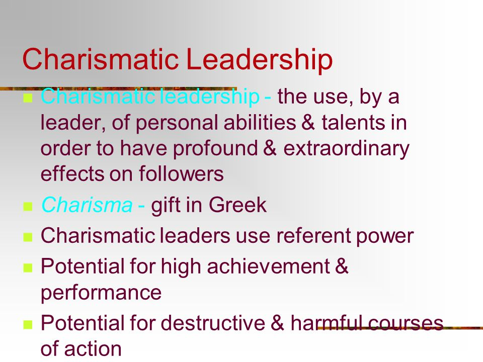 Is Charismatic Leadership Essential?