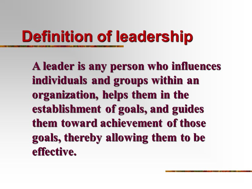 an introduction to the definition of leadership Leadership is the ability of a company's management to set and achieve challenging goals, take swift and decisive action, outperform the competition, and inspire others to perform well.