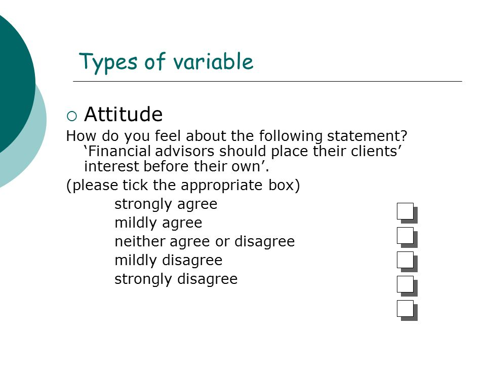 Types of variable Attitude