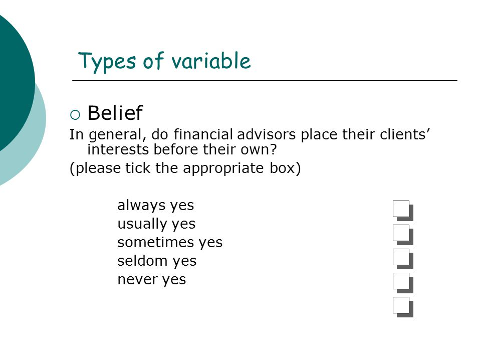 Types of variable Belief