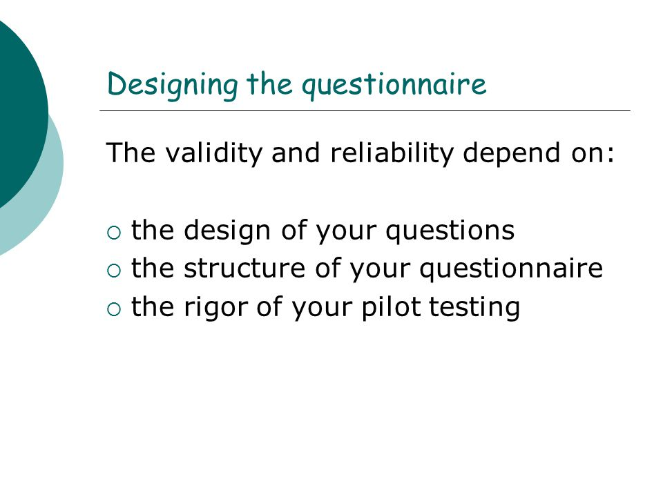Designing the questionnaire