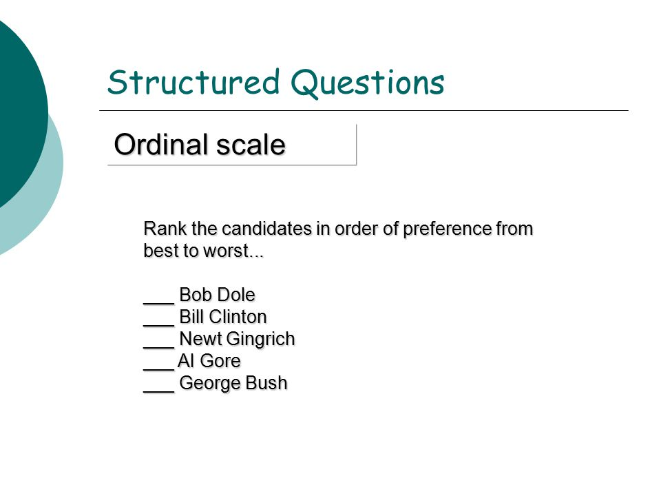 Structured Questions Ordinal scale