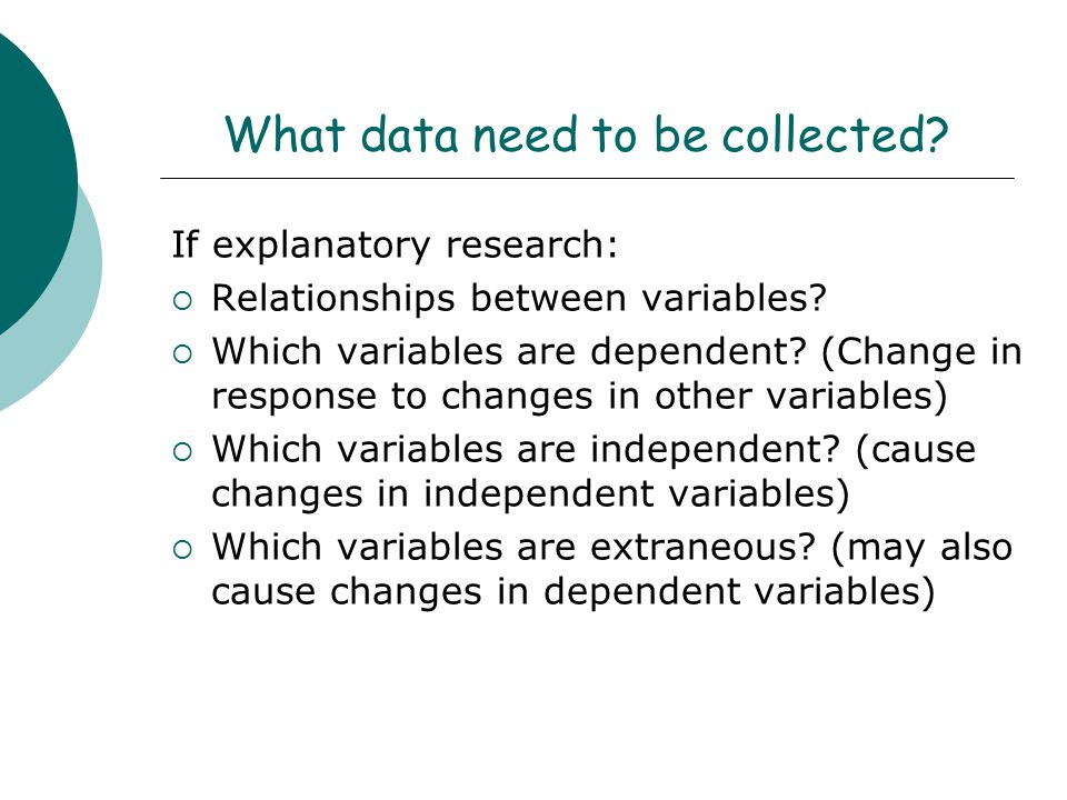 What data need to be collected