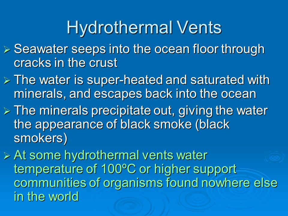 Hydrothermal Vents Seawater seeps into the ocean floor through cracks in the crust.