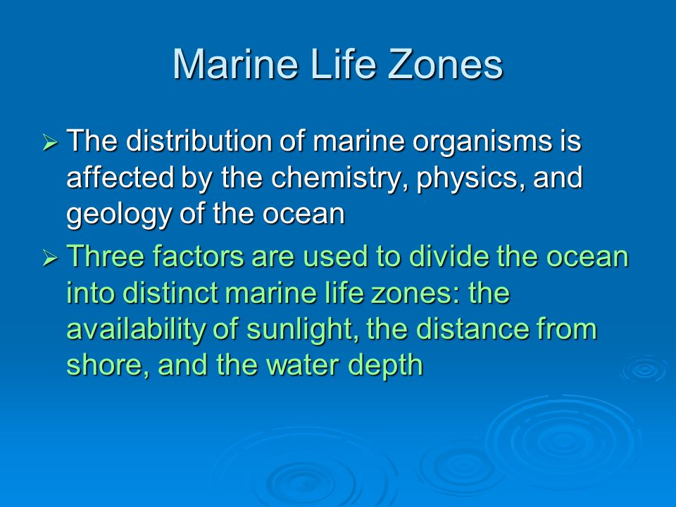 Marine Life Zones The distribution of marine organisms is affected by the chemistry, physics, and geology of the ocean.