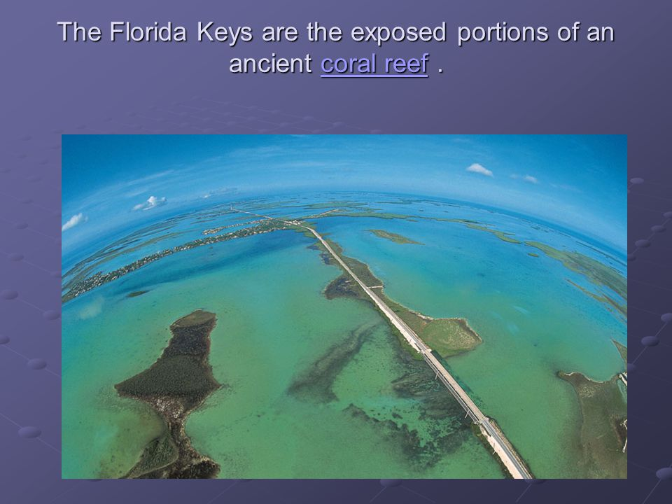The Florida Keys are the exposed portions of an ancient coral reef .
