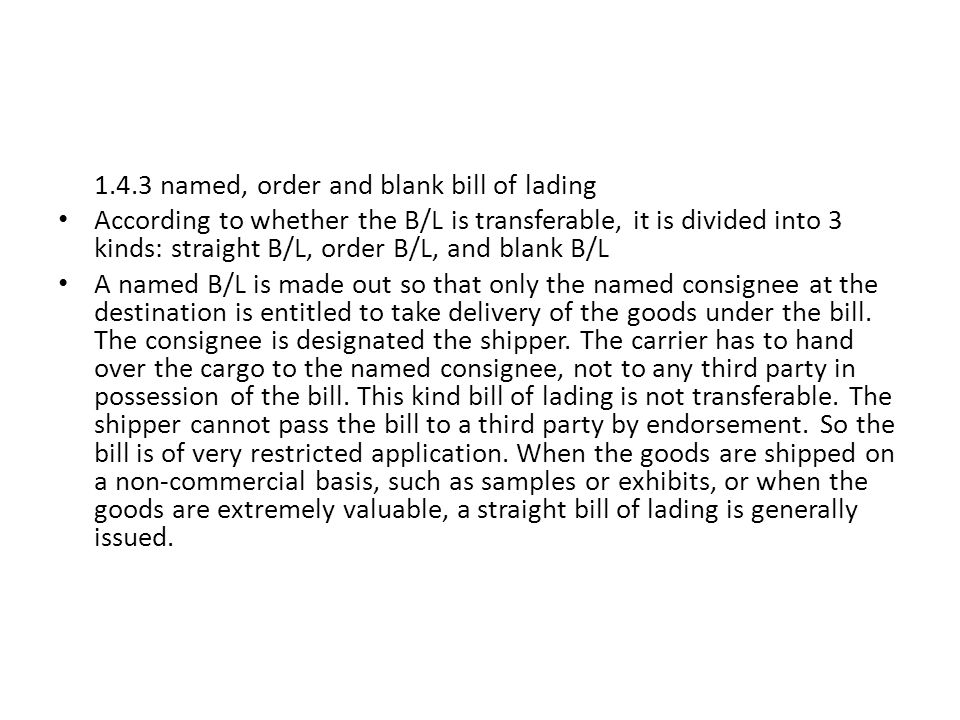 Bill of Lading ppt download – Blank Straight Bill of Lading