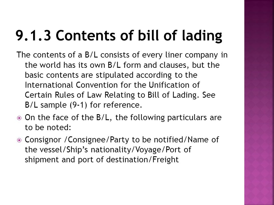 Chapter 9 shipment documents ppt video online download 913 contents of bill of lading thecheapjerseys Gallery