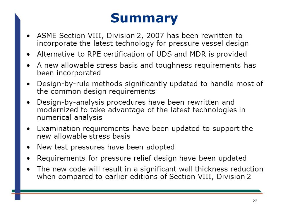 Attachment 2 an overview of the new asme section viii division 2 pressure vessel code api - Asme sec viii div 2 ...