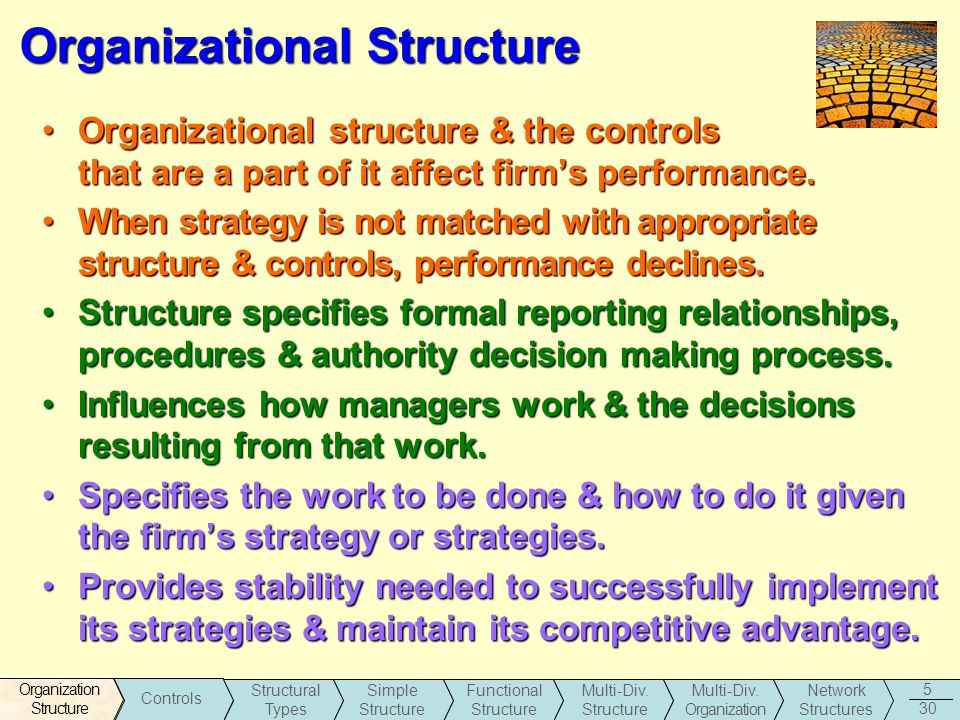 daily influences on organizational structure Learn about organizational influences on project management in this lesson  structure the next aspect of organizational influence that allen considers is the structure structure dictates the.