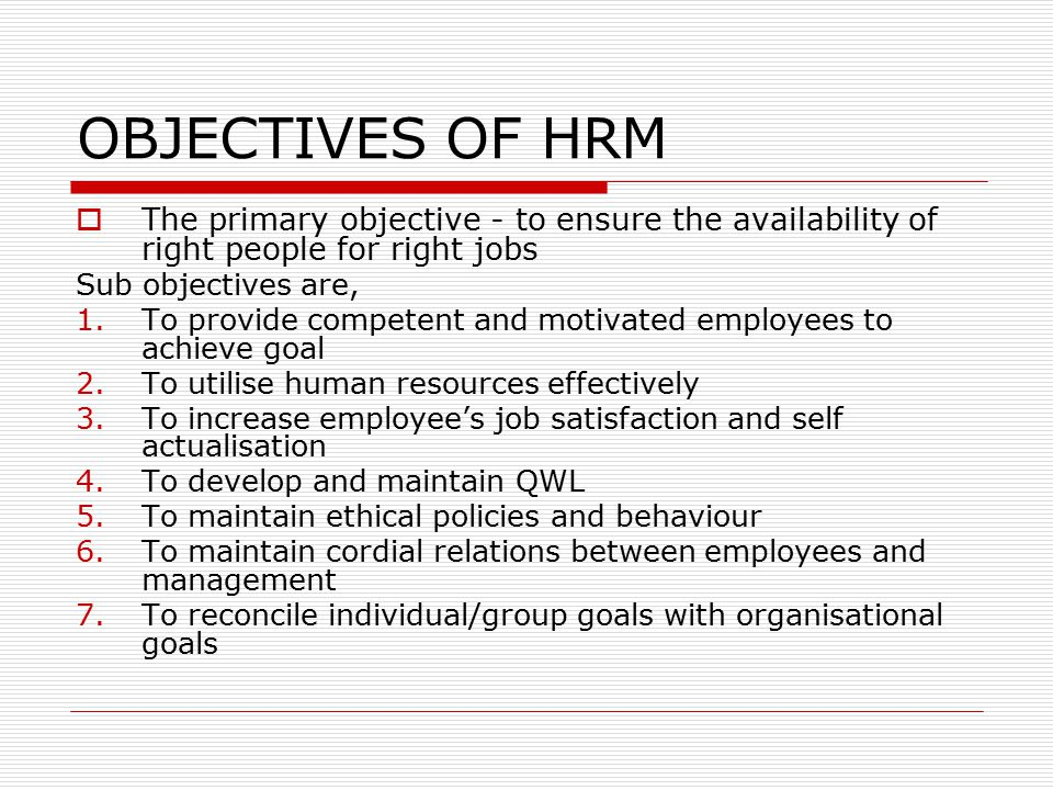 hrm objectives