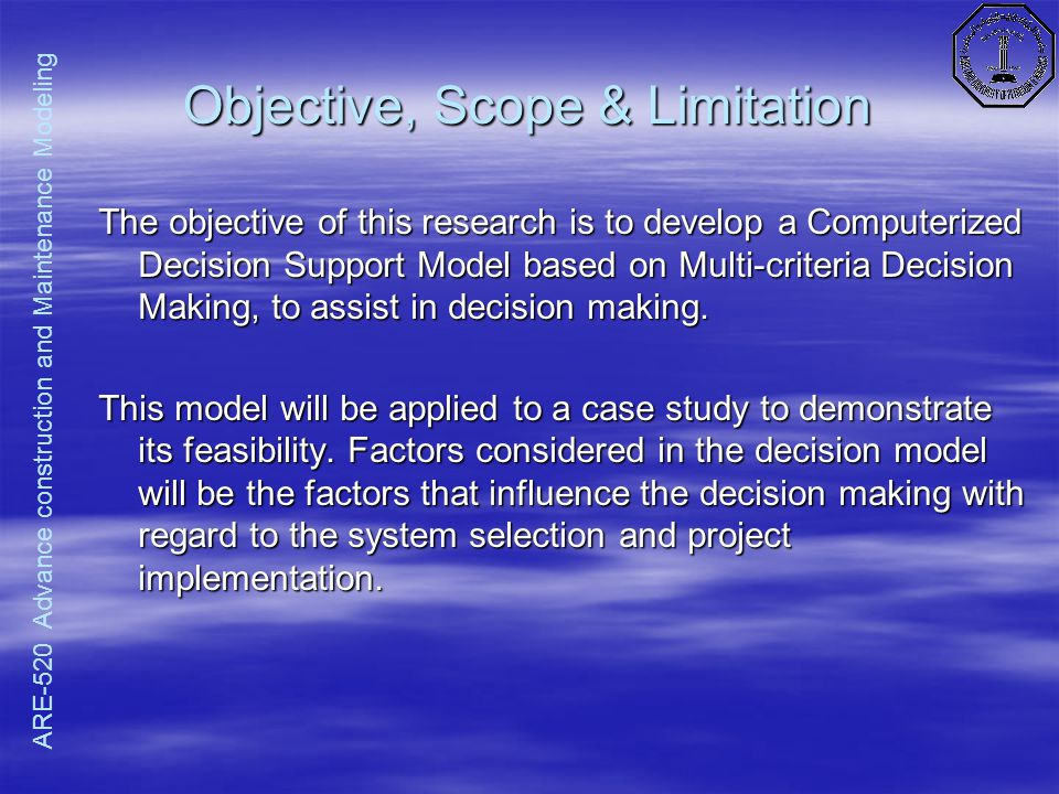 Scope and limitation for system analysis
