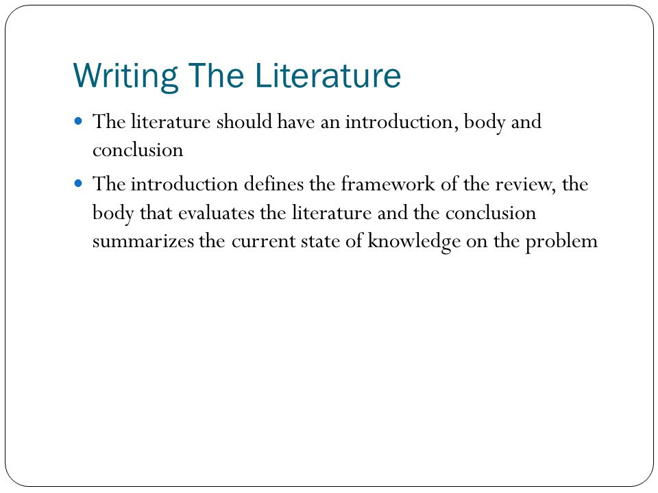 Writing The Literature
