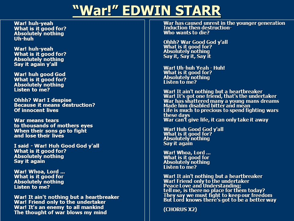 """heartbreaker essay lyrics Essay stephanie dowling 5/27/11  the direct and repetitive lyrics made it easier to  """"war, it ain't nothing but a heartbreaker/ war, friend only to the."""