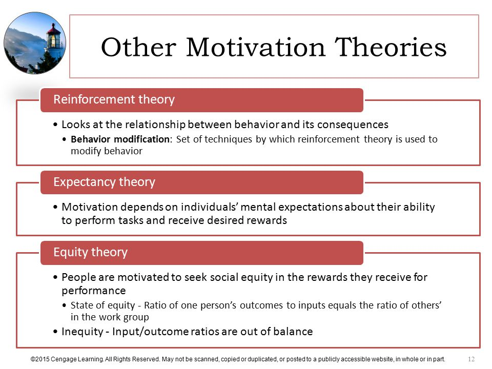 the effects of motivational behavior theories in the workplace Motivation - basic concepts and theories  emphasis on psychological processes that effect motivation and on basic needs  behavioral theory.