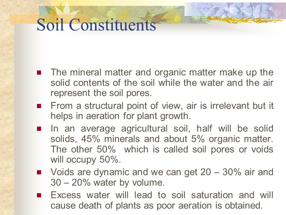 Me3ow soil and water engineering ppt video online download for Mineral constituents of soil