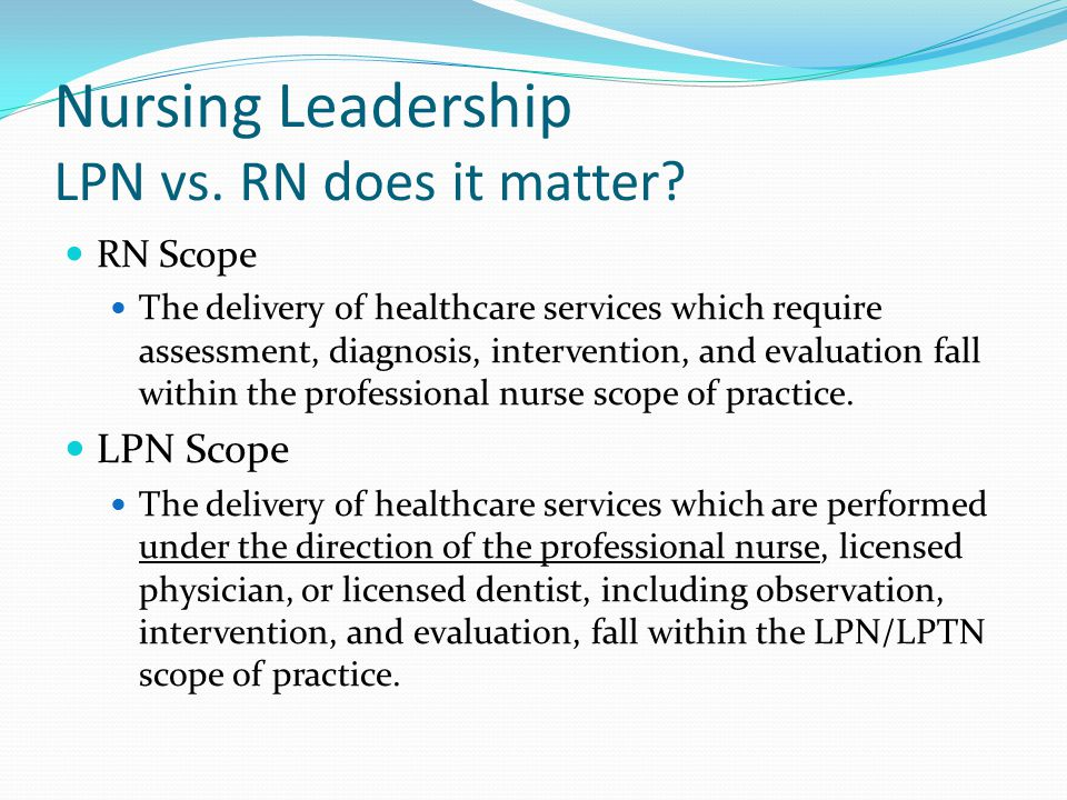 Scope of Practice for Licensed Practical Nurses