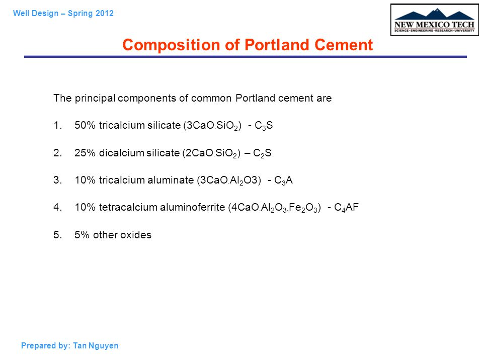 Portland Cement Composition : Well design pe ppt video online download