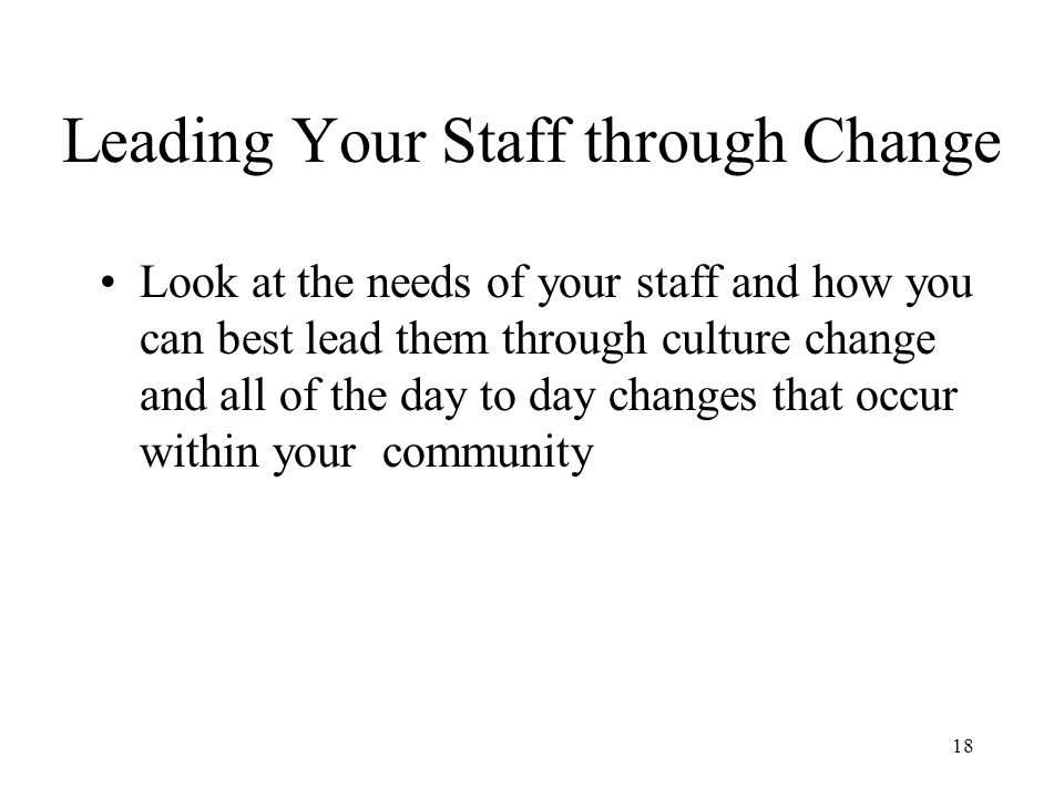 how to manage staff through change