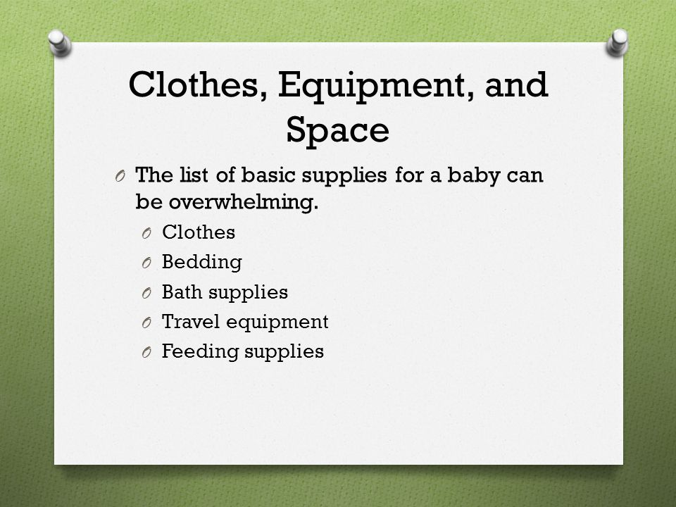 Clothes, Equipment, and Space