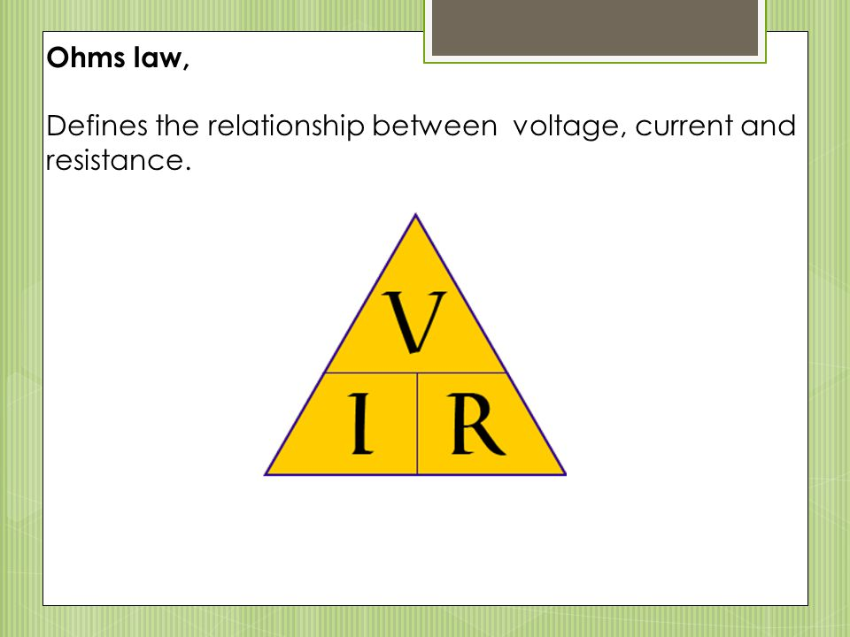 what is the relationship between voltage current and resistance called
