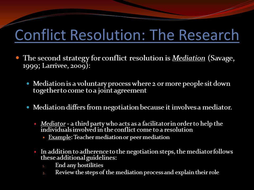 conflict resolution studies review of film Mediation and advocacy literature review judy reeves bshs/441 july 15, 2013 melinda barker mediation and advocacy literature review mediation is the preferred method of conflict resolution in the majority of litigations mediation has many benefits and few risks to the parties involved.