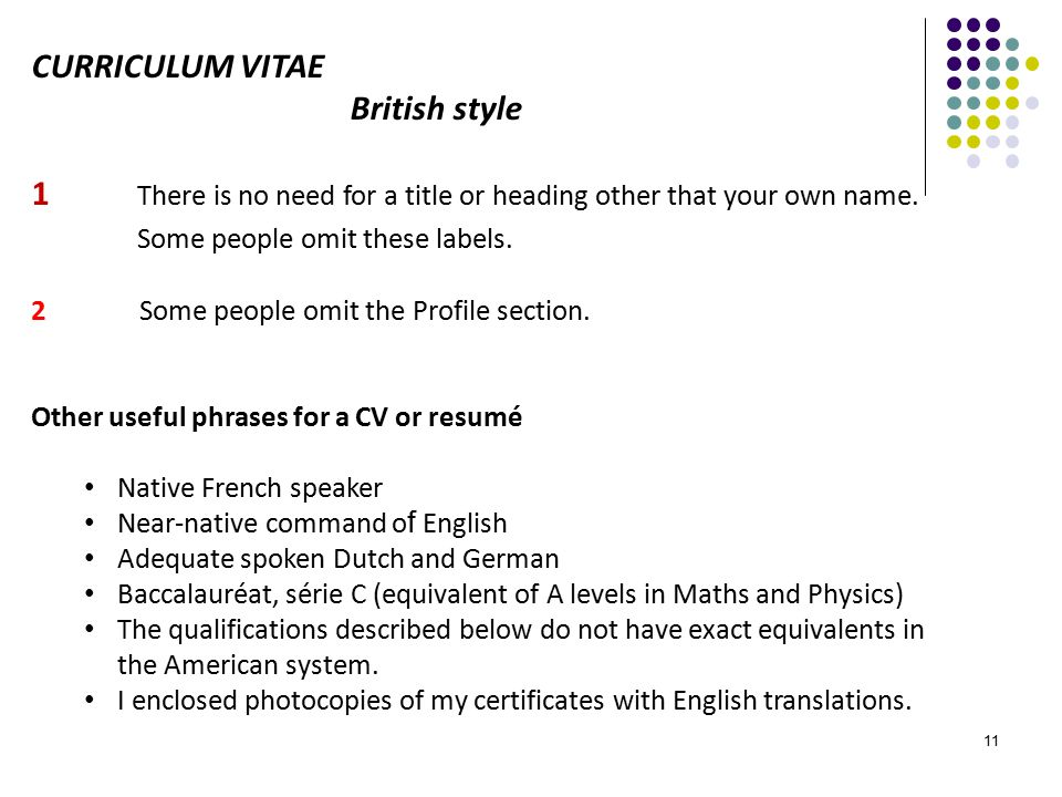 american style of writing cv