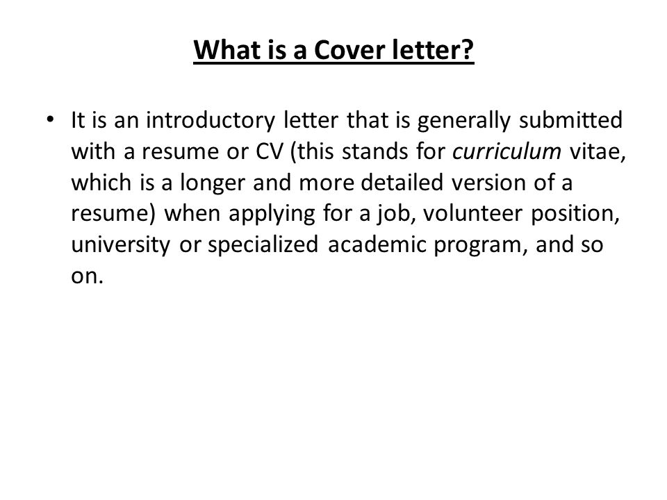 what is a cover letter - What Is A Cover Letters