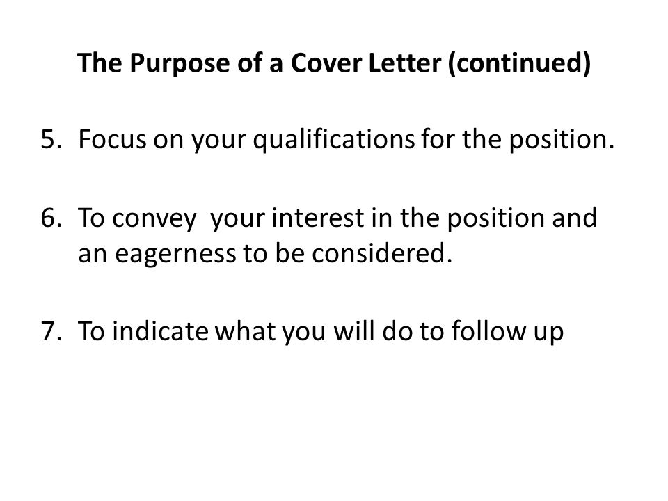 Convey interest cover letter