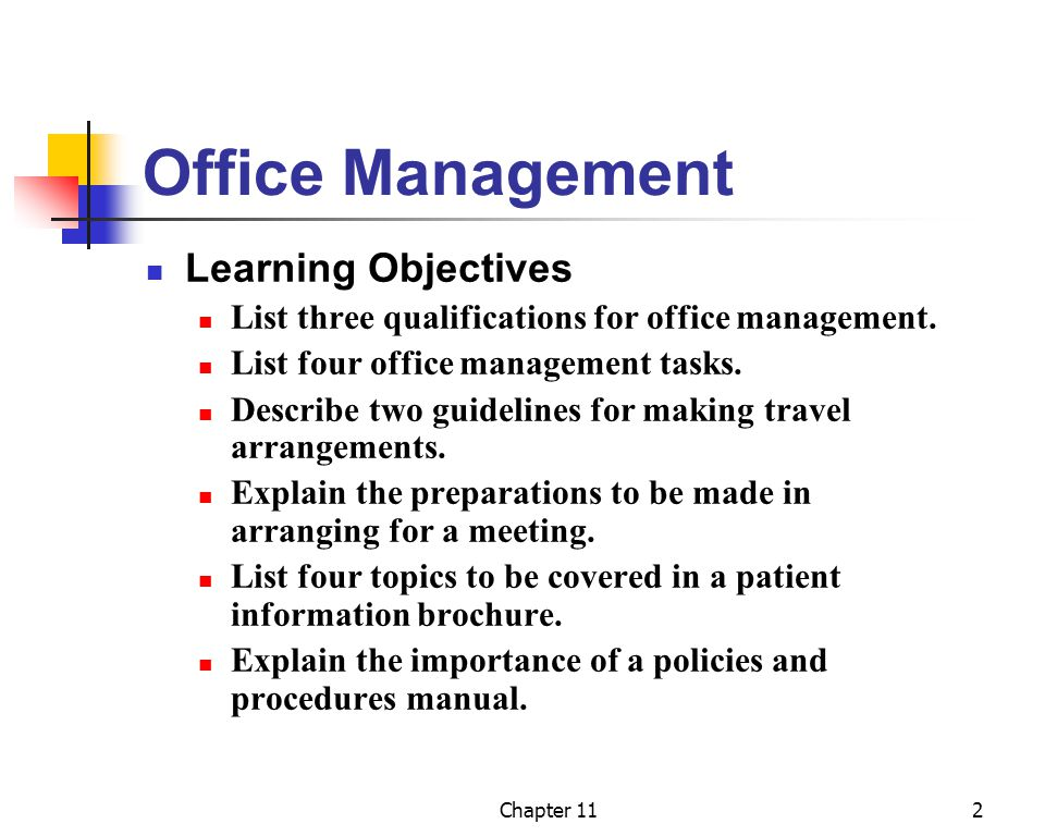 Office Management Learning Objectives