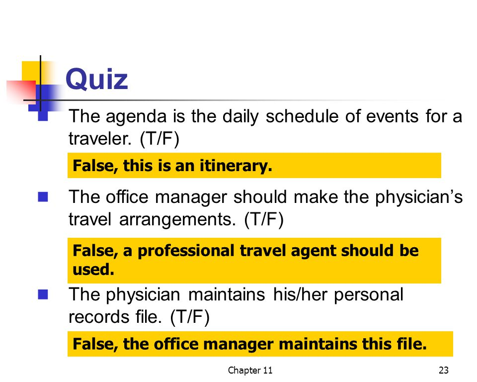 Quiz The agenda is the daily schedule of events for a traveler. (T/F)