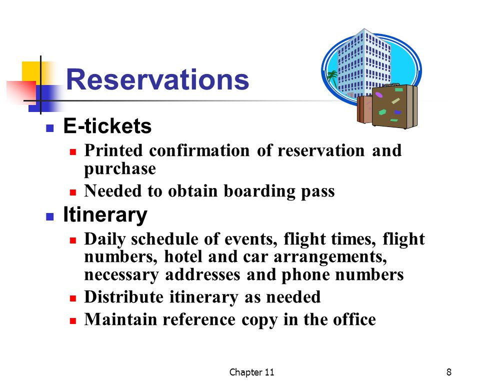 Reservations E-tickets Itinerary