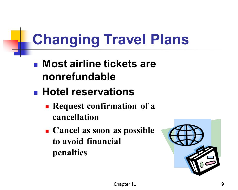 Changing Travel Plans Most airline tickets are nonrefundable