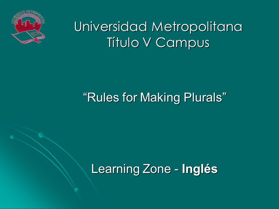 Rules for Making Plurals Learning Zone - Inglés