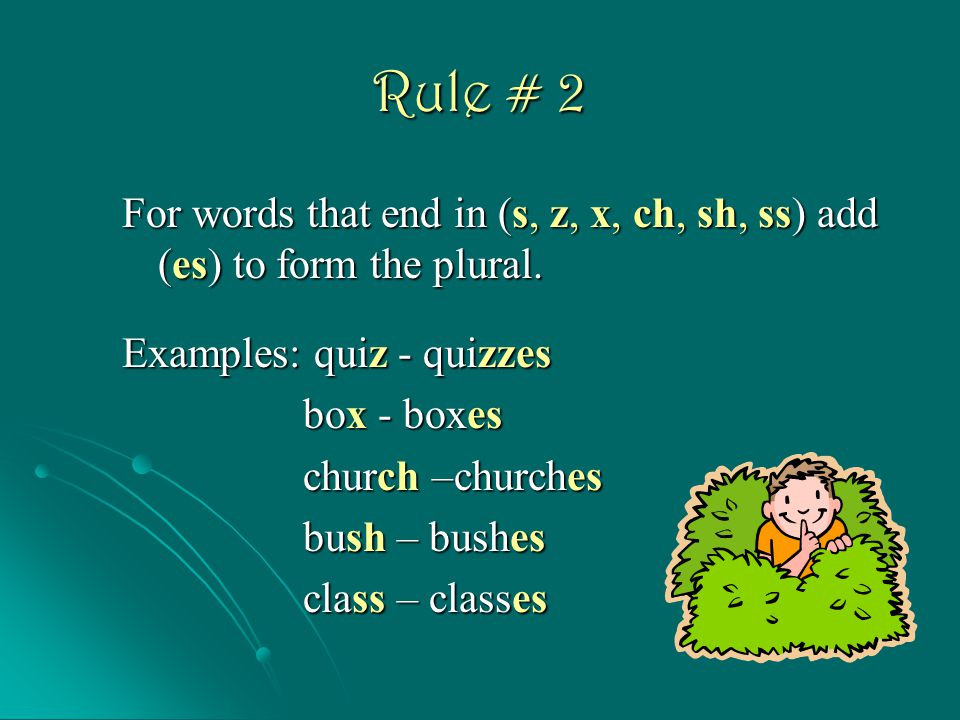 Rule # 2 For words that end in (s, z, x, ch, sh, ss) add (es) to form the plural. Examples: quiz - quizzes.