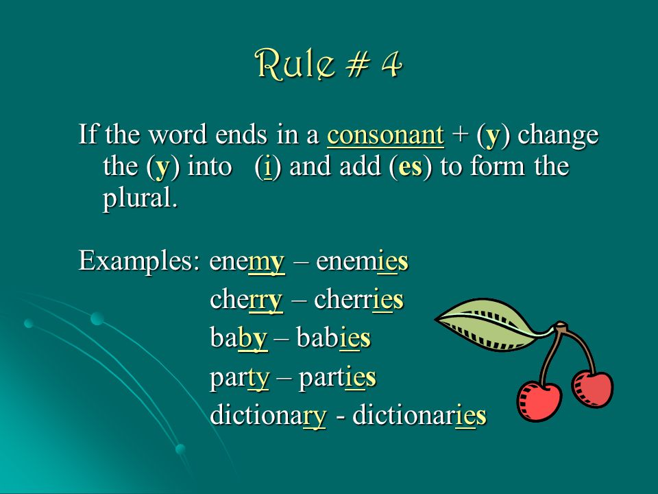 Rule # 4 If the word ends in a consonant + (y) change the (y) into (i) and add (es) to form the plural.