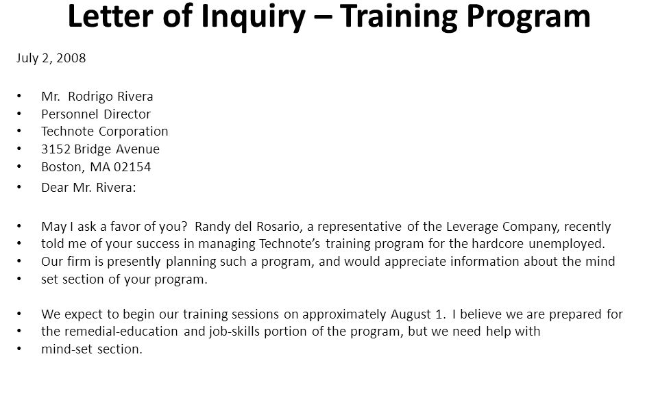 Letter Of Inquiry Inquiry Letters And Replying To The Inquiry