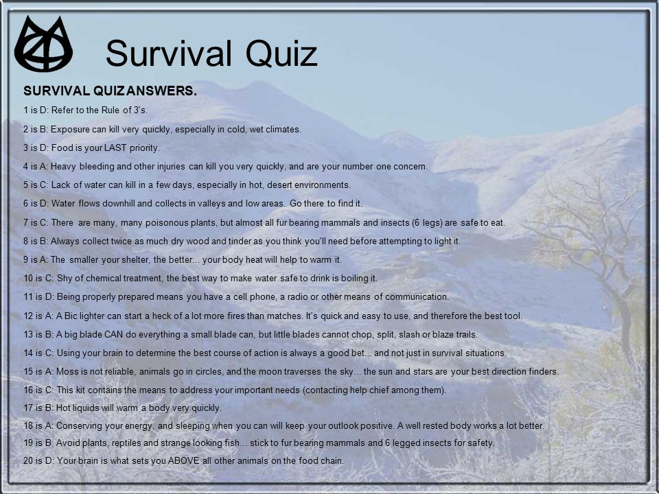 survival quiz questions and answers pdf