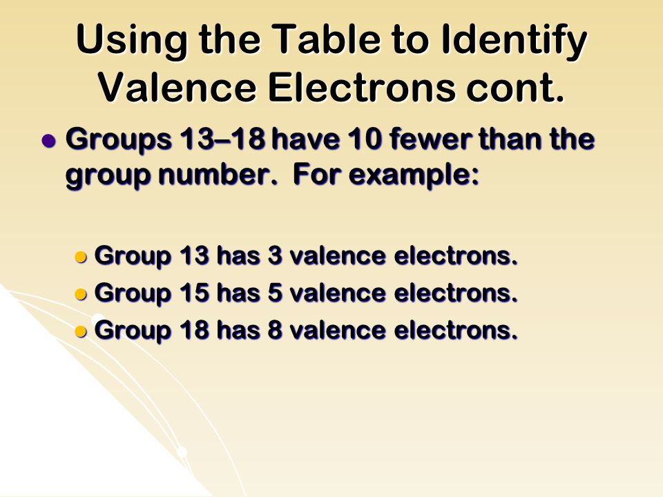 Using the Table to Identify Valence Electrons cont.