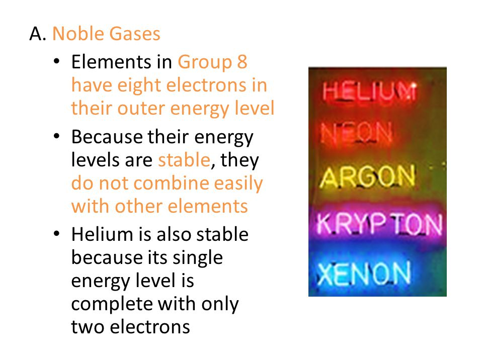 A. Noble Gases Elements in Group 8 have eight electrons in their outer energy level.