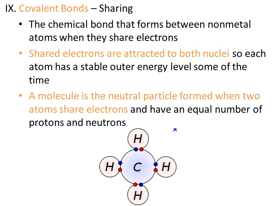 IX. Covalent Bonds – Sharing