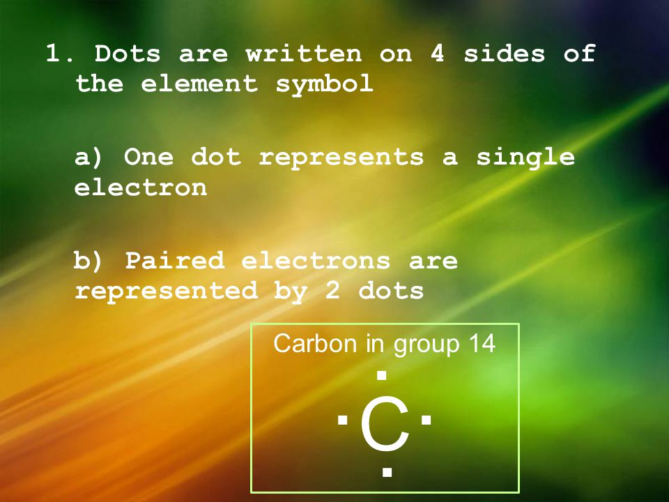 1. Dots are written on 4 sides of the element symbol a) One dot represents a single electron b) Paired electrons are represented by 2 dots