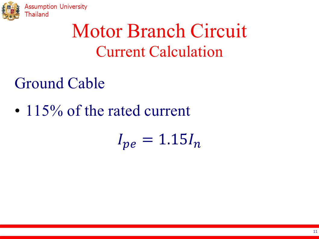 Motor Branch Circuit Current Calculation