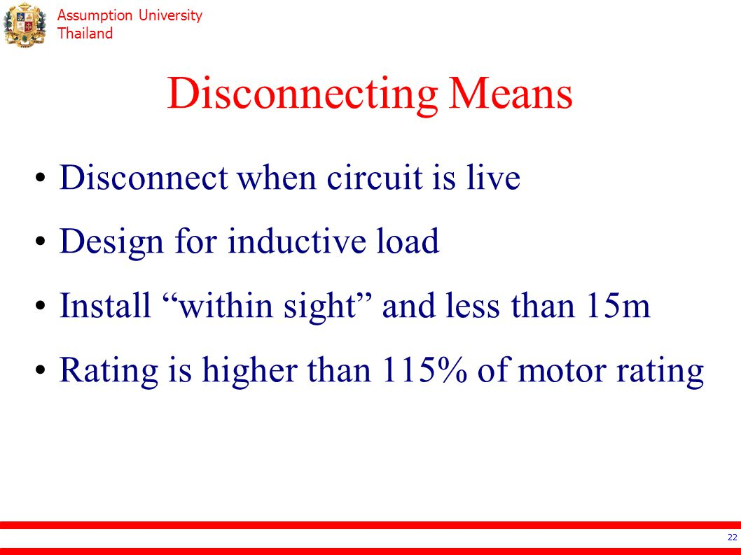 Disconnecting Means Disconnect when circuit is live